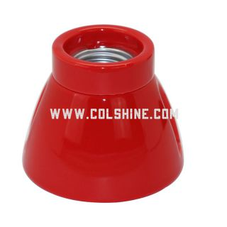 E27 vintage porcelain lamp holder in red