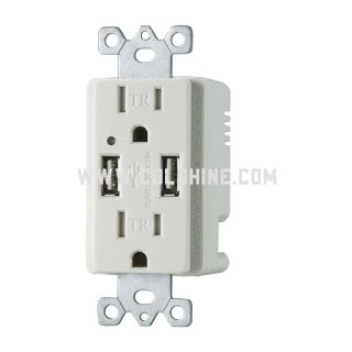 Duplex receptacle with USB 4.2A and led indicator HO-U202