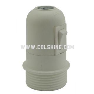 E27 plastic lamp holder with switch, semi-thread, with a ring