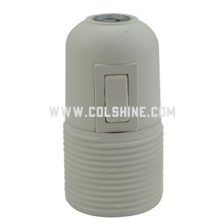E27 plastic lamp holder with switch and a ring